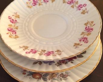 Vintage 1960's Royal Tara trio of dessert plates/tea saucers