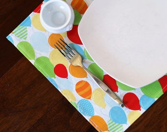 Placemats DOUBLE SIDED Laminated Cotton, wipe clean, birthday balloons with choice of solid back