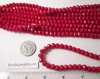 Crystal Beads, 8x6mm, Red Opaque Crystal Beads, Faceted Rondelle Crystal Beads, Chinese Crystal, 1mm Hole, 12 Inch Strand, QTY 1 - gc362