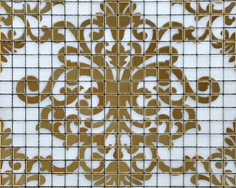 Crystal Glass Tile Gold Mosaic Collages Design Interior Wall Tile Murals Bathroom Decor Shower Wall Tiles Designs