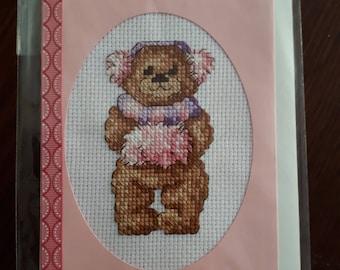 Cross stitch card: Little winter bear