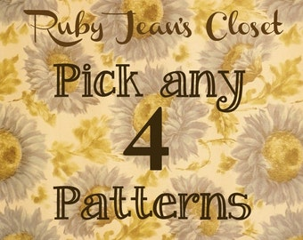SALE Pick any 4 patterns from Ruby Jean's Closet and SAVE on Dress PDF Patterns
