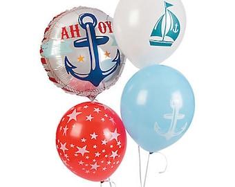 4 Pcs / Ahoy Nautical Balloons / nautical party theme / Party balloons