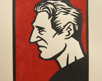 "Liam Neeson 6""x8"" lino block print - Inspired by ""Taken"""