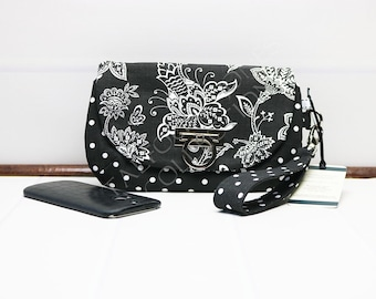 Smartphone Wallet - Iphone Zipper Wristlet - Clutch Purse - Cellphone Wallet - Flap Clutch - Wrist Strap Purse - Black Phone Wallet