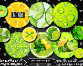 digital images * Mojito * Lime yellow plant was vintage collage digital scrapbooking cabochon jewel