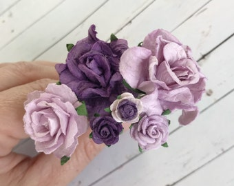 Lilac and Purple Flower Hair Pins for Holidays, Weddings, Prom, Bridesmaids // Thank You Bobby Pin Gift Set // Romantic Bridal Hair