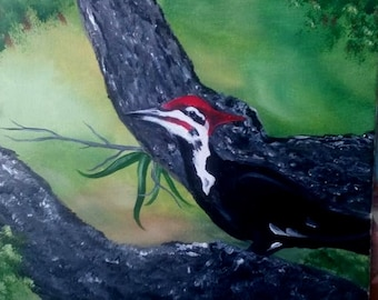 Original Oil Painting - Pileated Woodpecker