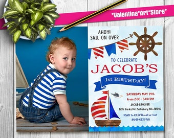 Nautical birthday invitation Etsy