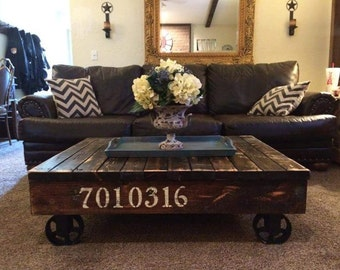Industrial / Rustic Rail Cart Coffee Table, Farmhouse Style, Reclaimed Wood Coffee  Table
