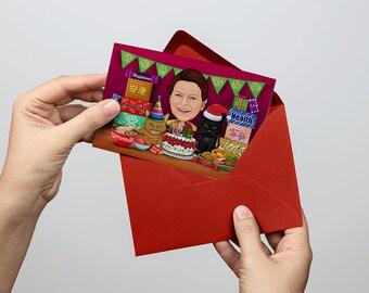 Personalised Invitation Card / Caricature Birthday Card / Baby shower invitation Card / Custom Caricature / Personalized Caricature / Gifts