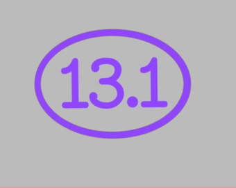 13.1 Half Marathon Outline Oval Vinyl Cut-out Stickers