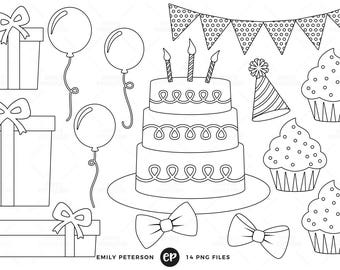 Birthday Party Digital Stamps, Birthday Presents Line Art, Cake Clip Art - Commercial Use, Instant Download