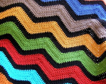 chevron zig zag ripple baby toddler blanket afghan wrap crochet knit wheelchair stripes VANNA WHITE yarn adult lap robe multicolor new