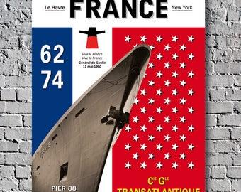 Paquebot France Liner Transatlantique Poster Decoration Voyage