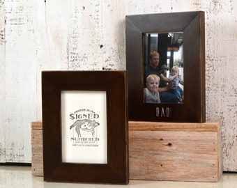 4x6 Picture Frame with Vintage Dark Wood Tone Finish - Can Be Personalized if Desired - IN STOCK Same Day Shipping - Father's Day Gift Frame