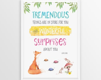 Roald Dahl - Tremendous Things are in Store for You Wall Art Print   Kids Room Decor