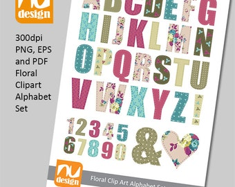 Pretty Digital Floral Alphabet Clipart Set - 300dpi PNG, PDF & EPS Files. Ideal for Scrapbooking.