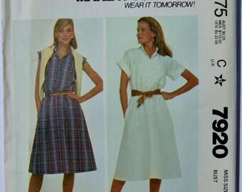 Vintage McCalls 7920 Women's Dress Sewing Pattern 1982