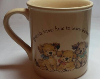 Puppy Mug Hallmark Mug Mates Friendship Puppy Mug 1970s Puppy Dog Friends Mug Gift Idea