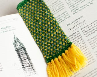 Handmade Green, Yellow and Grey Knit Bookmark // Gifts for Booklovers // Bibliophile Gifts