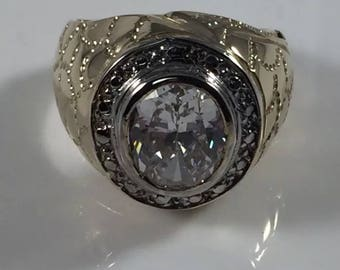 Mens silver stone ring with 18k gold plating