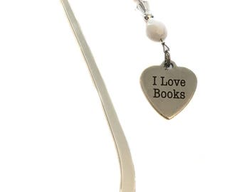 "Handmade Glass White Beads Beaded ""Book Lover"" Stainless Steel Heart Charm Metal Bookmark Gift"
