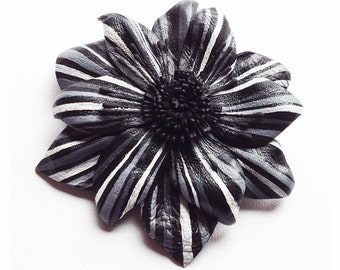 Leather flower brooch, leather, flower hair clip, hand painted flower, flower corsage, leather broach, flower hairpin, wedding corsage lf10)