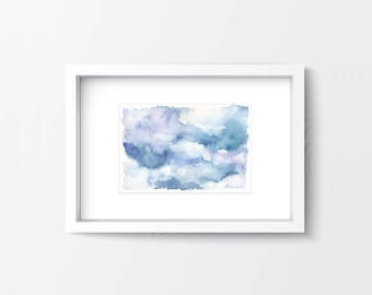 Watercolour Clouds Original Painting, Clouds wall art, Nursery decor, Clouds painting, Living room decor, Abstract clouds, Cloud home decor