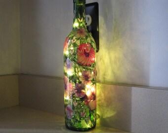 ON SALE Wine bottle hand painted, great Birthday gift, Bridal shower, Nursery lamp, Retirement gift, Night lamp, Housewarming gift, Teacher