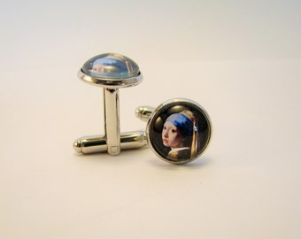 Vermeer GIRL with a PEARL EARRING Silver Cuff Links -- Fine art cuff links for him and her, 17th Century, Friendship token