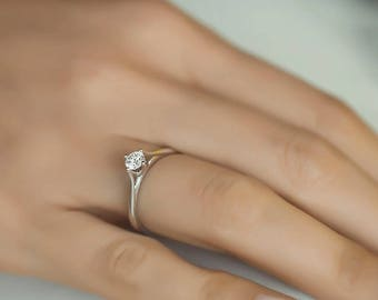 Round Diamond Ring/ Solitaire Diamond Ring.  Available in 14k Gold, White Gold or Rose Gold