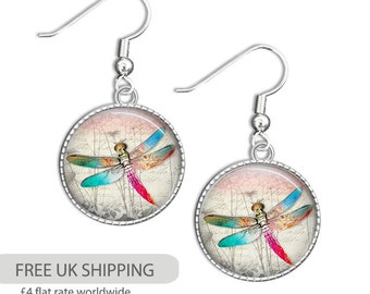 Dragonfly Jewelry - Dragonfly Earrings - Glass Jewelry - Photo Dragonfly Jewelry