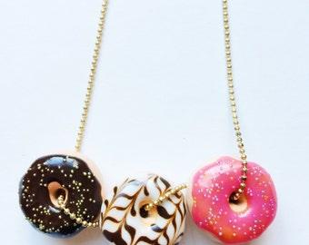 Donut Charm Necklace Miniature Food Jewelry Polymer Clay