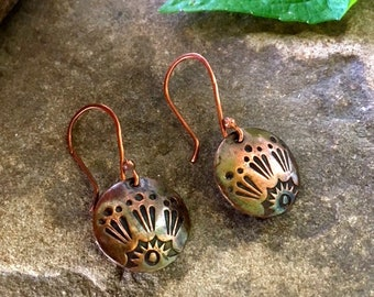 Shine On - Handcrafted Copper Stamped Earrings