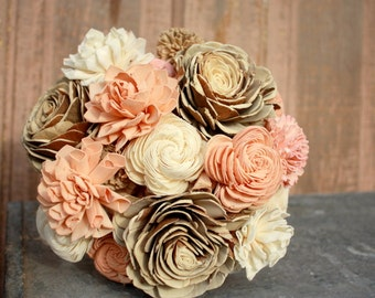 Sola flower bouquet, brides wedding bouquet, champagne, rose gold, blush wedding flowers, eco flower bouquet, alternative keepsake