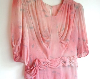 Vintage 1930's Pink Crinkle Crepe, Sheer Gauze, Tea Gown Party Dress - Gathered Bust, Smocked Sleeves, Scalloped Swag Belt