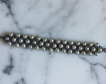Lacy Beaded Bracelet - Handcrafted in US - ITEM # 368 - 7.5 inch length - Silver color