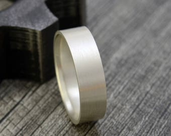 Recycled Sterling Silver Men's Wedding Ring -  6mm Comfort Fit Flat Wedding Band