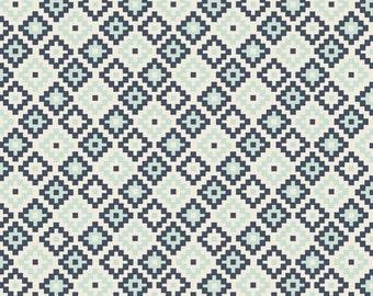 Navy Knit , Woodland Geometric Navy Knit by Riley Blake