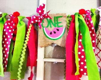 One-In-A-Melon Watermelon High Chair Banner
