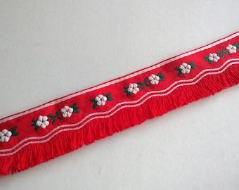 Red Fringe Ribbon Choker