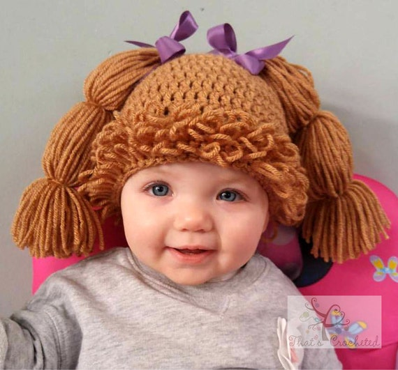 Cabbage Patch Kid Inspired hat/wig Newborn photography prop