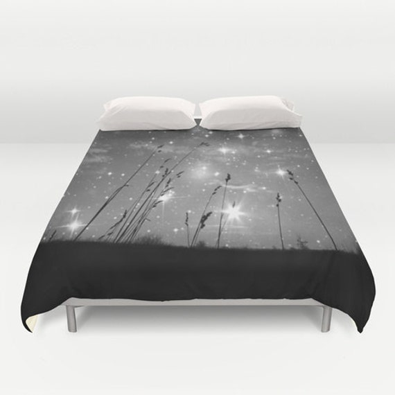 Only the stars and me, Duvet Cover, Decorative bedding, unique design, stars, night sky, black, white, nature, peaceful, bedroom, blanket