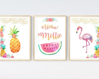 Set of 3 Tropical Party Hula Prints | Personalised Name | Flamingo Pineapple | Birthday Gift Present | Nursery Wall Art Picture. UNFRAMED