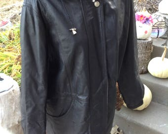 Vintage 80s mens black leather hooded parka coat size large free domestic shipping Stranger Things2