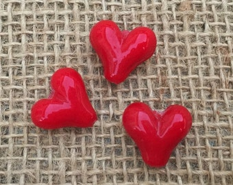 1 | Big Red Heart Lampwork Glass Bead | Heart Jewelry | Queen of Hearts | 20x20mm
