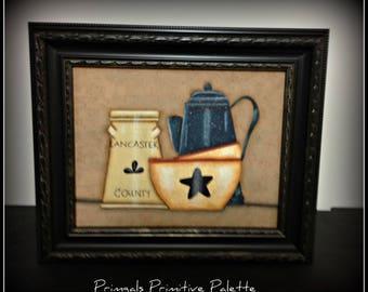 Primitive Kitchen Bowls Coffee Pot Crock Home Decor Wall Art Framed Canvas