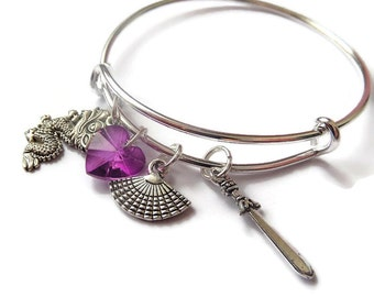 mulan bangle, mulan gift, mulan bracelet, princess bracelet, princess gift, princess party, princess favors, princess jewellery, fan bangle