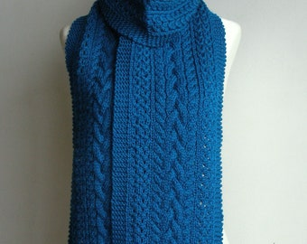 Pure Wool Hand Knitted Cable & Eyelet Scarf - 'Delphine' - choose your colour.